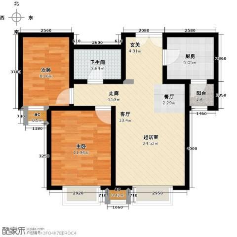 首开・国风海岸2室0厅1卫1厨80.00㎡户型图