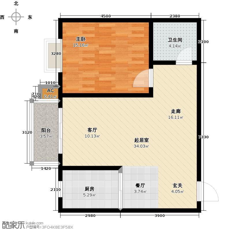 钢苑新区B户型一室两厅一卫一厨70.43平米户型LL