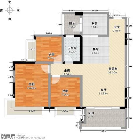 中澳春城3室0厅1卫1厨89.21㎡户型图