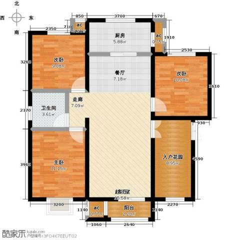 首开・国风海岸3室0厅1卫1厨119.00㎡户型图