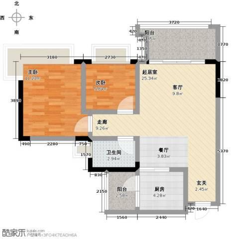 中澳春城2室0厅1卫1厨67.00㎡户型图