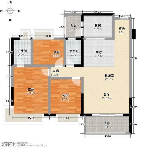 中澳春城3室0厅2卫1厨105.00㎡户型图