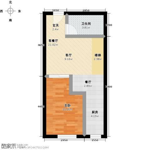 汇雄时代1室1厅1卫0厨51.00㎡户型图