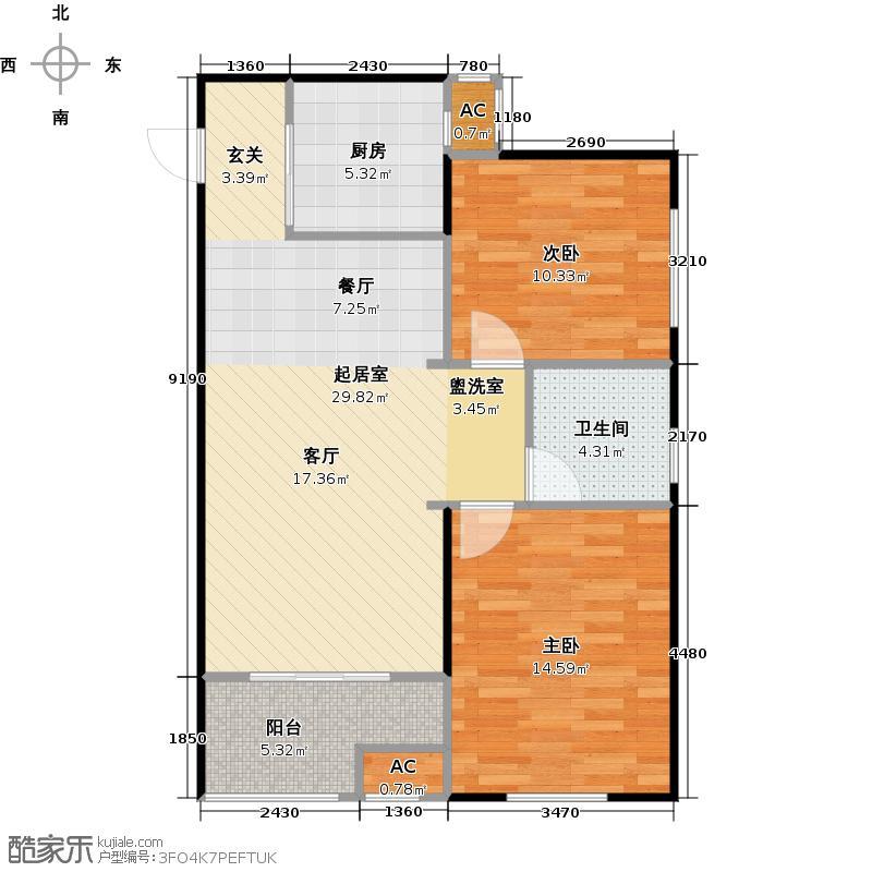 天朗长安76.85㎡DK6-4#楼D2户型2室2厅1卫