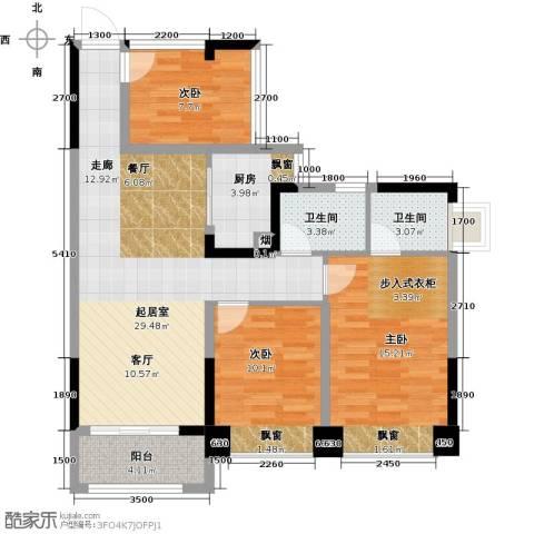 汇乔金色名都3室0厅2卫1厨89.00㎡户型图