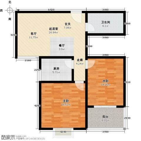 钢苑新区2室0厅1卫1厨105.00㎡户型图