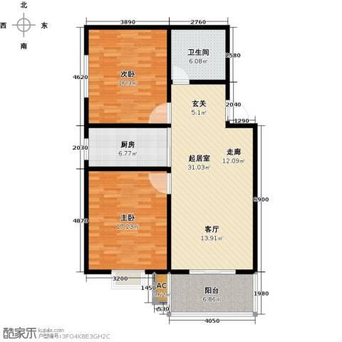 钢苑新区2室0厅1卫1厨118.00㎡户型图