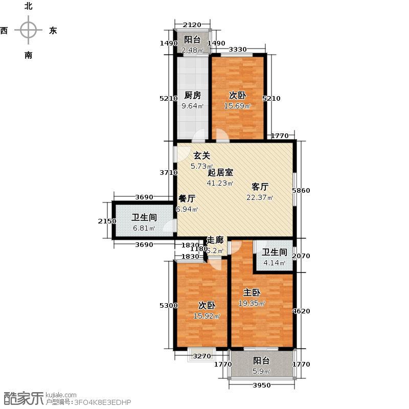 钢苑新区F户型三室两厅两卫134.58平方米户型LL