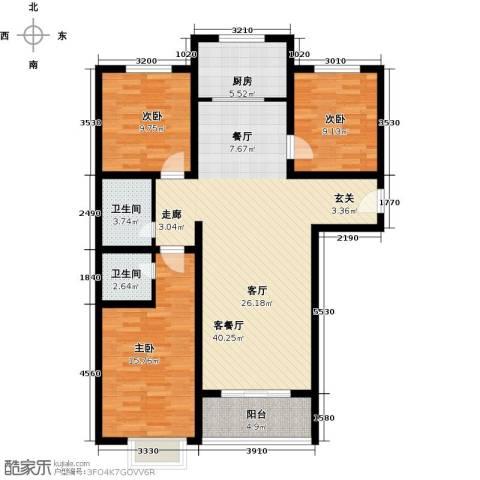 博雅A区3室1厅2卫1厨116.00㎡户型图