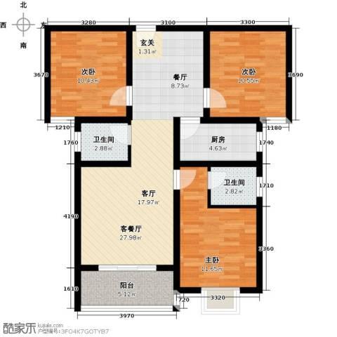 博雅A区3室1厅2卫1厨106.00㎡户型图