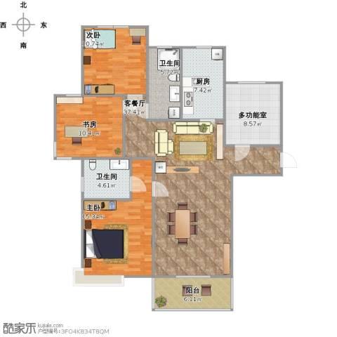 城建琥珀五环城3室1厅2卫1厨143.00㎡户型图