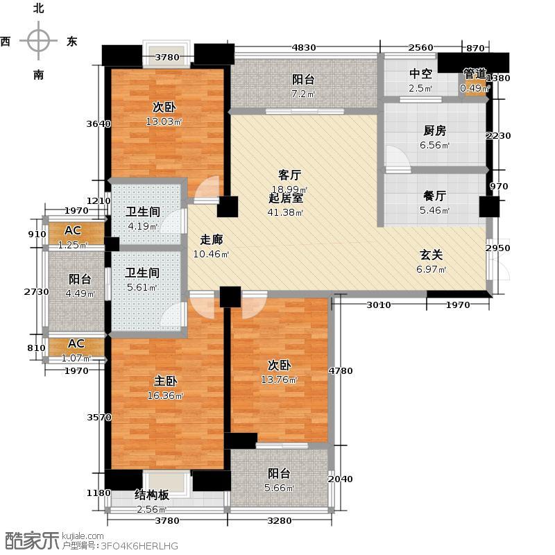 融信澜园4号楼144平米三房两厅两卫户型LL