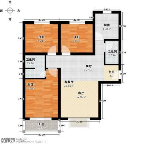 博雅A区3室1厅2卫1厨103.00㎡户型图