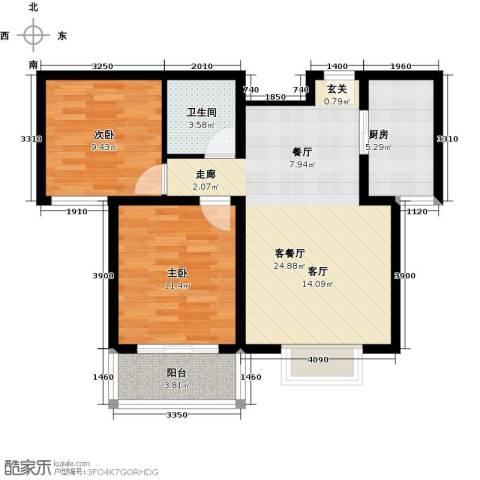 博雅A区2室1厅1卫1厨127.00㎡户型图