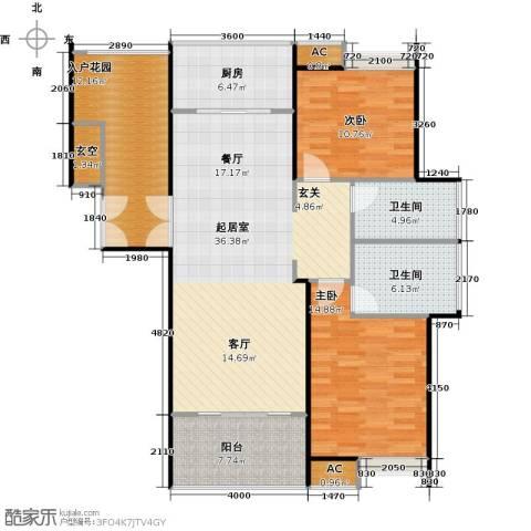 德州华嬉盛世2室0厅2卫1厨138.00㎡户型图