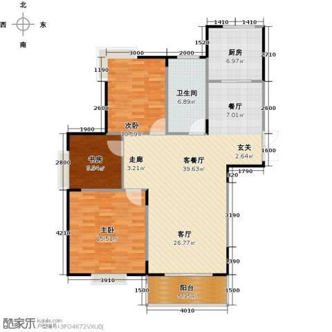 交通香樟花园3室1厅1卫1厨123.00㎡户型图