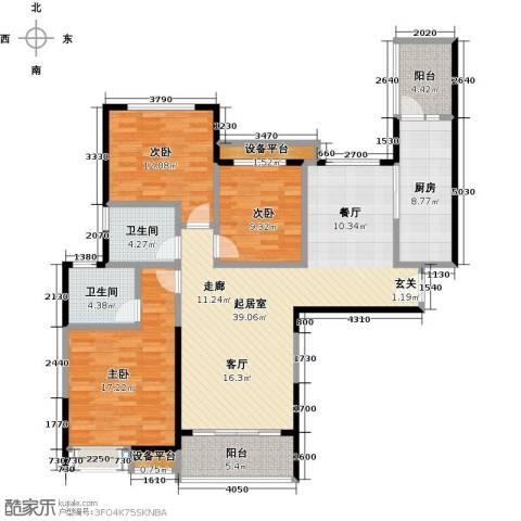 平湖恒大名都3室0厅2卫1厨123.00㎡户型图