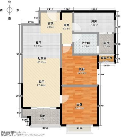 平湖恒大名都2室0厅1卫1厨90.00㎡户型图