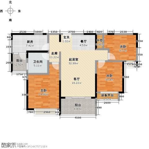 平湖恒大名都3室0厅1卫1厨106.00㎡户型图