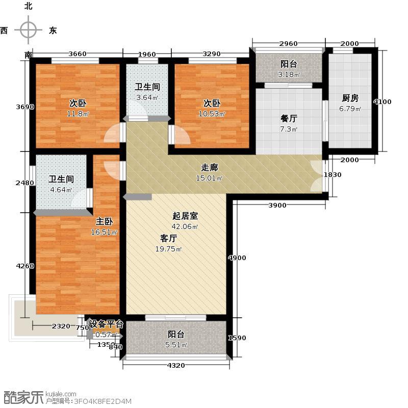 锦绣江南户型3室2卫1厨