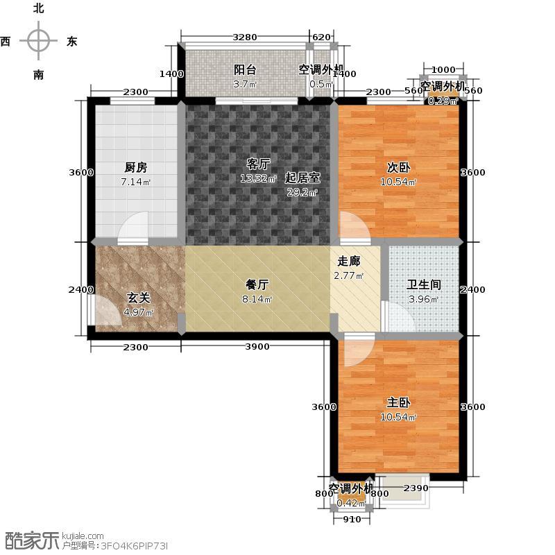 果岭湾89.35㎡13/14楼户型图户型2室2厅1卫