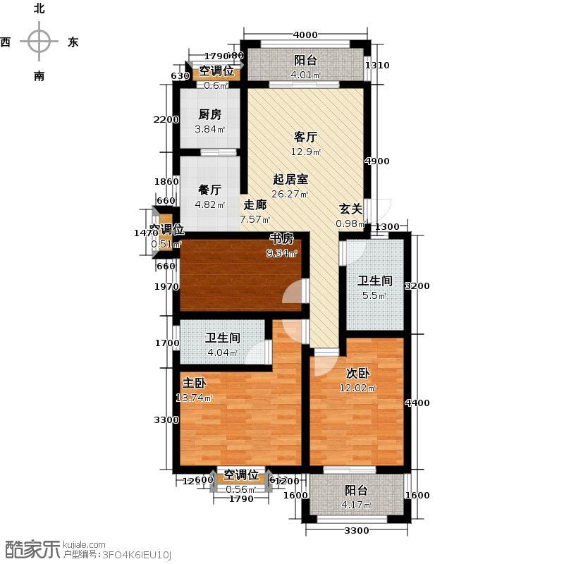盛世东方A1两阳台约10252m²户型3室2卫1厨