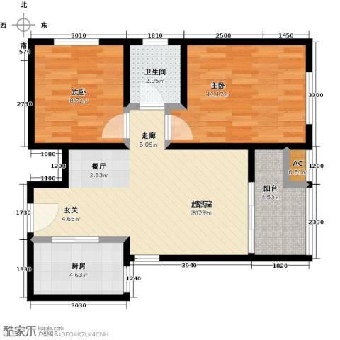 香榭水岸2室0厅1卫1厨78.00㎡户型图
