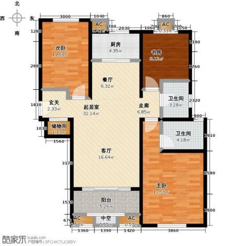 香榭水岸3室0厅2卫1厨130.00㎡户型图