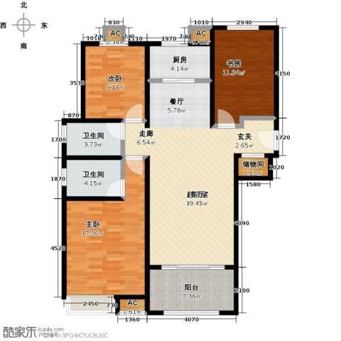 香榭水岸3室0厅2卫1厨134.00㎡户型图