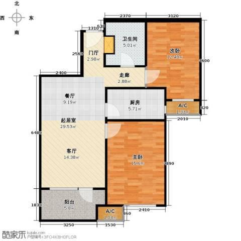 潮白河孔雀城・温莎郡2室0厅1卫1厨83.00㎡户型图