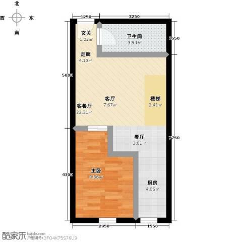 汇雄时代1室1厅1卫0厨52.00㎡户型图