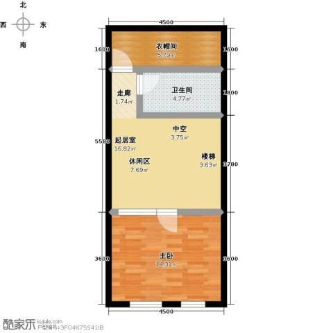 汇雄时代1室0厅1卫0厨61.00㎡户型图