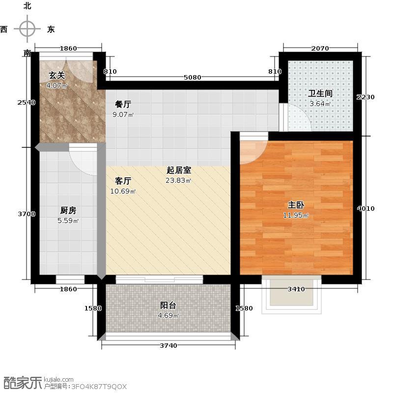 锦绣江南58.00㎡23#楼D1 58㎡户型1室1厅1卫