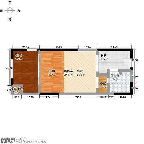 金地澜悦1室0厅1卫1厨60.00㎡户型图