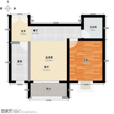 锦绣江南1室0厅1卫1厨72.00㎡户型图