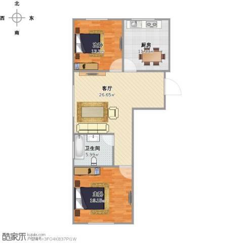 飞龙新苑2室1厅1卫1厨96.00㎡户型图