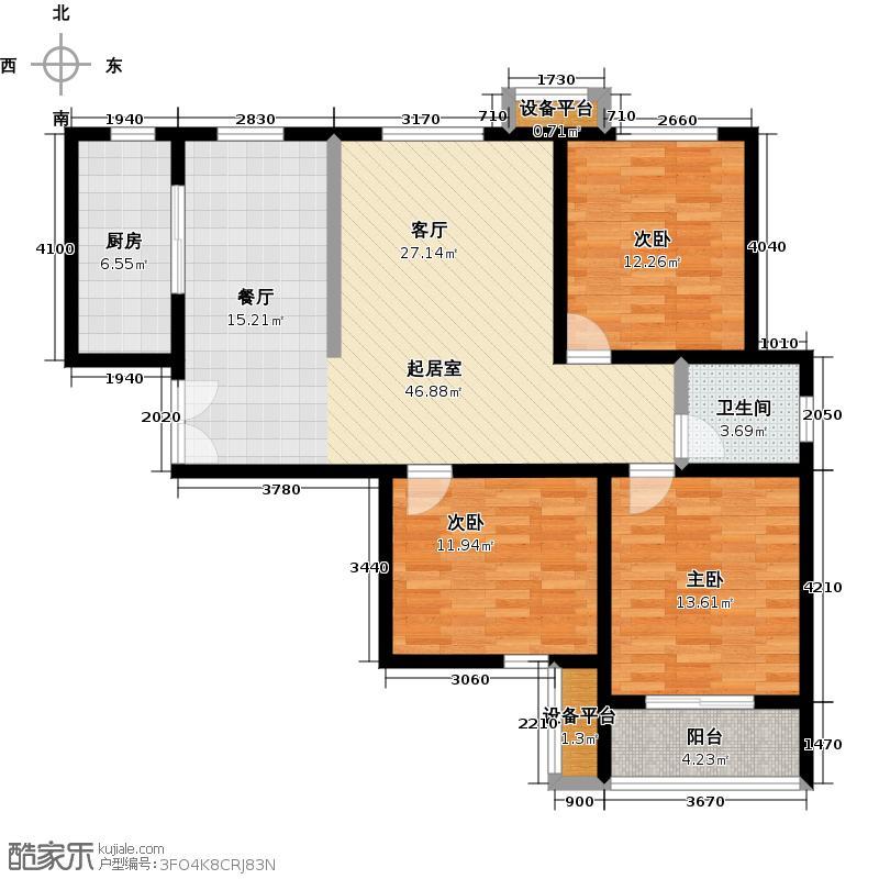 锦绣江南110.00㎡23#楼D1 110㎡户型3室2厅1卫
