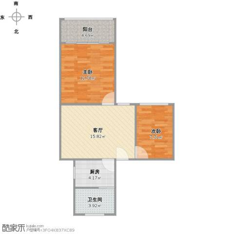 绿新小区2室1厅1卫1厨67.00㎡户型图