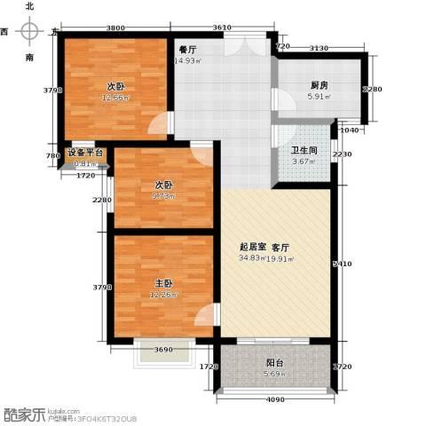 锦绣江南3室0厅1卫1厨123.00㎡户型图