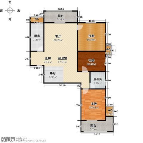钟秀花园3室0厅1卫1厨160.00㎡户型图