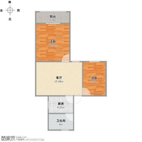 虹纺小区2室1厅1卫1厨65.00㎡户型图