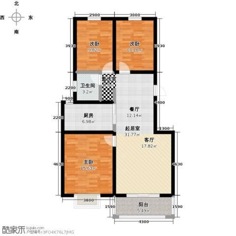 锦江花园3室0厅1卫1厨119.00㎡户型图