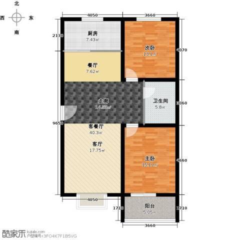 香溪茗苑2室1厅1卫1厨97.00㎡户型图