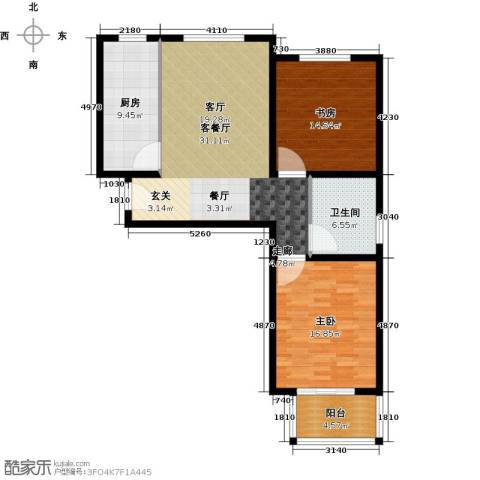 香溪茗苑2室1厅1卫1厨94.00㎡户型图