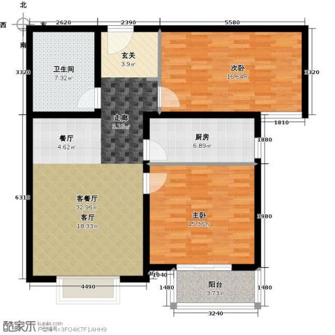 香溪茗苑2室1厅1卫1厨93.00㎡户型图