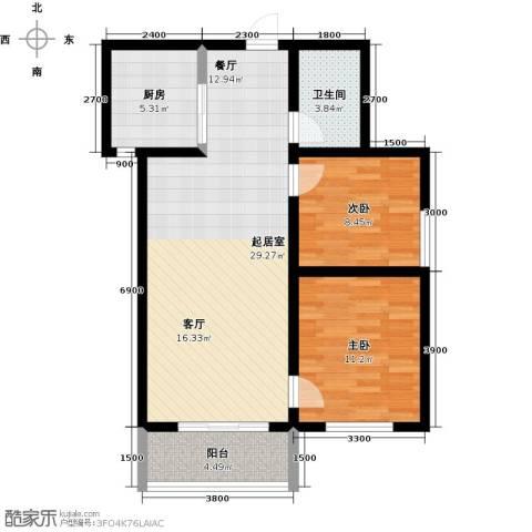 锦江花园2室0厅1卫1厨90.00㎡户型图
