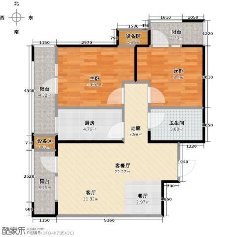 抚顺万达广场2室1厅1卫1厨84.00㎡户型图