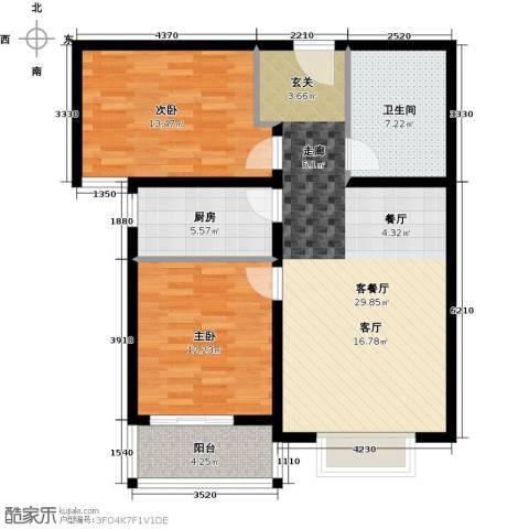 香溪茗苑2室1厅1卫1厨82.00㎡户型图