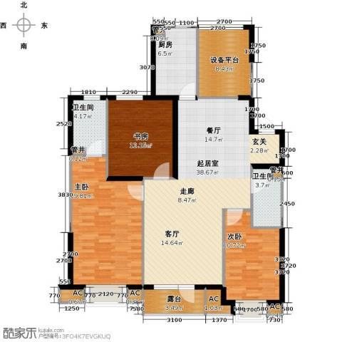 沈阳雅居乐花园3室0厅2卫1厨141.00㎡户型图