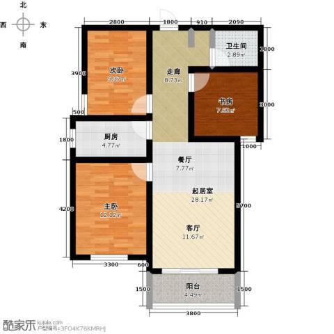 锦江花园3室0厅1卫1厨101.00㎡户型图